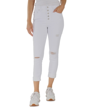 Juniors' Distressed High-Rise Buttoned Skinny Jeans