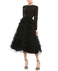 Sequin-Top A-Line Dress