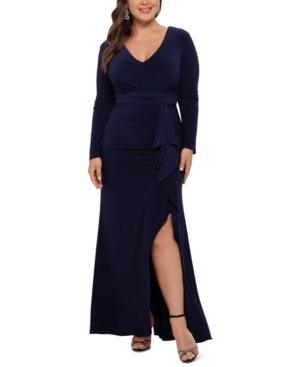 Plus Size V-Neck Gown With Matching Mask