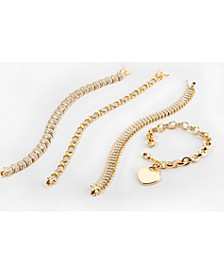 Diamond Accent Bracelets in Gold, Rose Gold or Fine Silver Plate