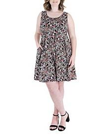 Plus Size Floral Print Sleeveless Pocket Dress