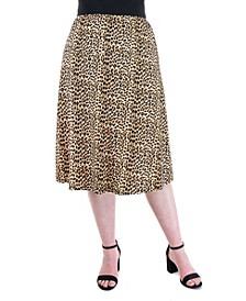 Plus Size Animal Print Elastic Waist Midi Skirt