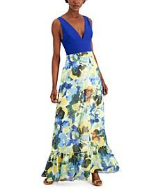 Plunging Floral-Print A-Line Dress