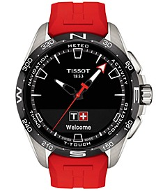 Men's Swiss T-Touch Connect Solar Red Rubber Strap Smart Watch 48mm