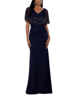 Embellished Beaded-Overlay Gown