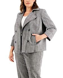Plus Size Cross-Dye Faux-Double-Breasted Jacket