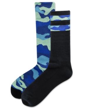 Men's 2-Pk. Camouflage Stripe Half Cushion Crew Socks