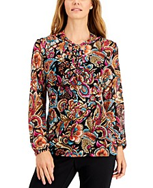 Petite Printed Tie-Neck Top, Created for Macy's