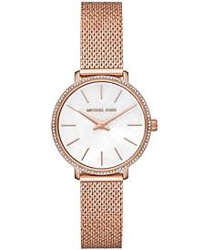 Women's Pyper Rose Gold-Tone Stainless Steel Crystal Mesh Bracelet Watch 32mm