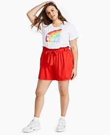 Plus Trendy Paperbag-Waist Shorts