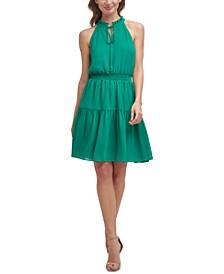 Smocked Chiffon Fit & Flare Dress