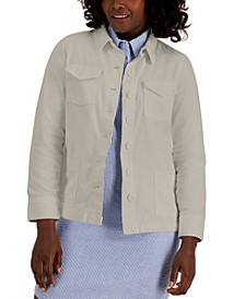 Petite Twill Button-Front Jacket, Created for Macy's