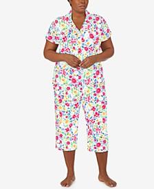 Plus Size Printed Knit Capri Pants Pajama Set