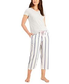 V-Neck Pajama T-Shirt & Capri Pajama Pants, Created for Macy's