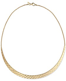 """Textured Cleopatra 18"""" Statement Necklace in 18k Gold-Plated Sterling Silver, Created for Macy's"""