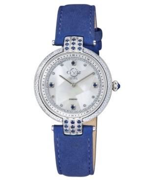 Women's Matera Swiss Quartz Blue Italian Suede Strap Watch 35mm