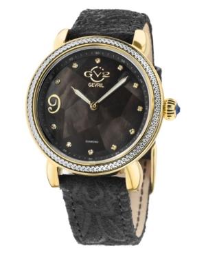 Women's Ravenna Floral Swiss Quartz Black Italian Leather Strap Watch 37mm