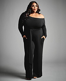 Trendy Plus Size Off-the-Shoulder Jumpsuit, Created for Macy's