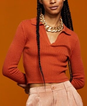 Women's Ribbed Polo Sweater