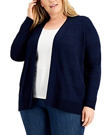 Plus Size Cotton Pointelle Open-Front Cardigan, Created for Macy's