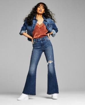 Women's Ripped Flare-Leg Jeans