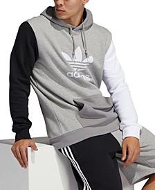 Men's Originals Colorblocked Trefoil Logo-Print Fleece Hoodie