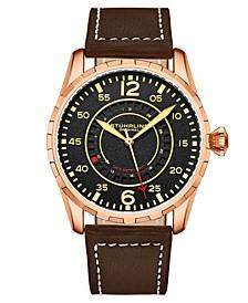 Men's Quartz Brown Genuine Leather with Cream Contrast Stitching Strap Watch 44mm