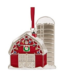 Barn House with Crystals Christmas Ornament