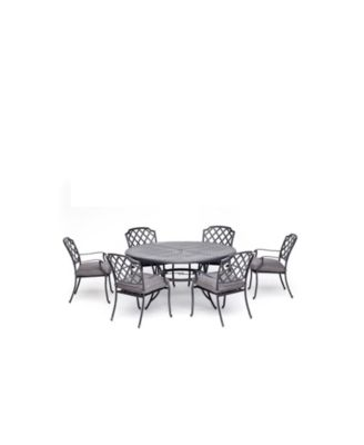 """Vintage II Outdoor 7-Pc. Dining Set (61"""" Round Table & 6 Dining Chairs) With Outdura® Cushions, Created for Macy's"""