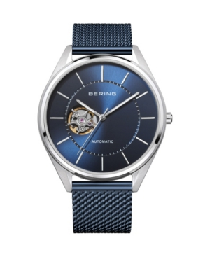 Men's Automatic Blue Stainless Steel Mesh Strap Watch 43mm