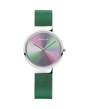 Women's Anniversary Green Stainless Steel Mesh Strap Watch 31mm