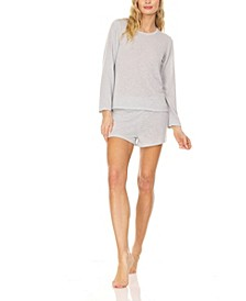 Women's Relaxed Fit Long Sleeve T-Shirt and Wide Waist Shorts, Pajama Lounge Comfy Sleepwear Set, 2 Piece
