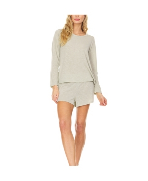 Women's Relaxed Fit Long Sleeve T-Shirt and Wide Waist Shorts