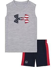 Little Boys Americana Sleeveless Tee and Shorts Set