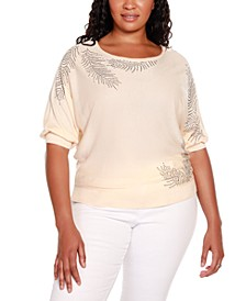 Black Label Plus Size 3/4 Dolman Sleeve Pullover Sweater with All Over Rhinestone Detailing
