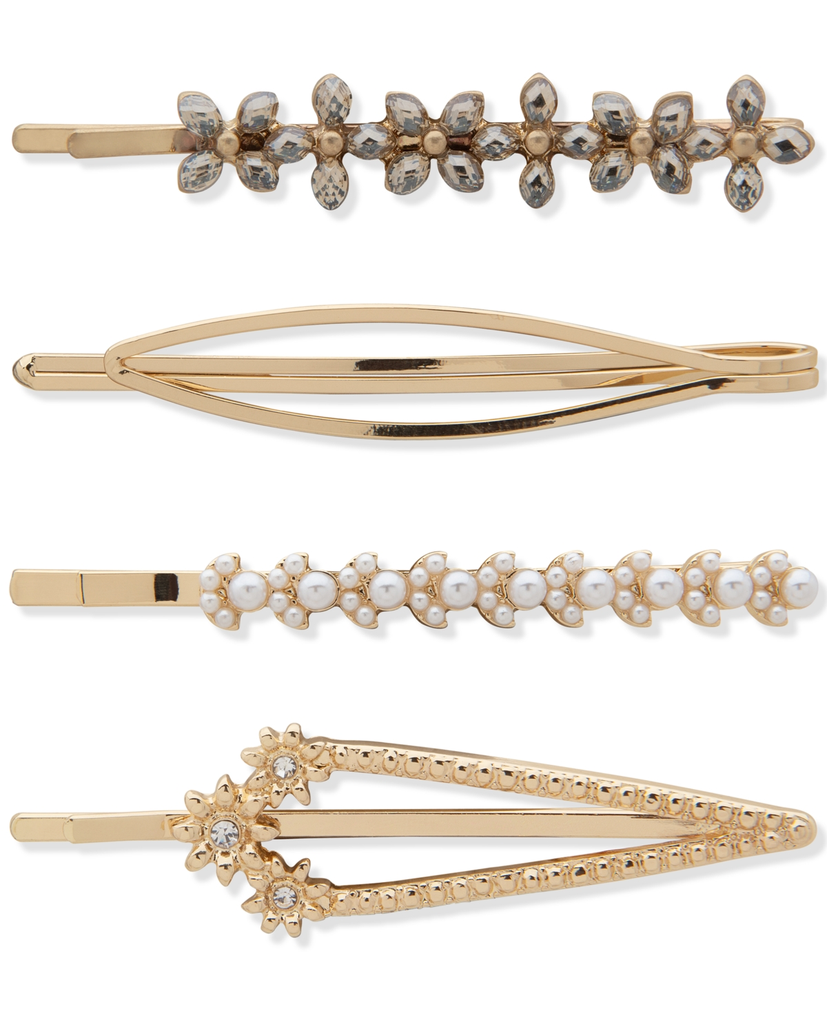 lonna & lilly 4-Pc. Gold-Tone Crystal & Imitation Pearl Flower Bobby Pin Set