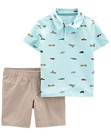 Baby Boys Jersey Polo Short, 2 Piece Set