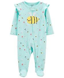 Baby Girls Bee 2-Way Zip Cotton Sleep Play