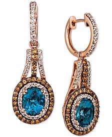 Deep Sea Blue Topaz (3-1/2 ct. t.w.) & Diamond (1-5/8 ct. t.w.) Drop Earrings in 14k Rose Gold
