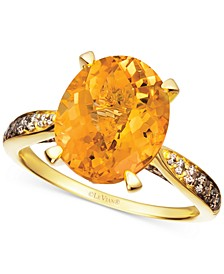 Cinnamon Citrine (4-1/4 ct. t.w.) & Diamond (1/3 ct. t.w.) Ring in 14k Gold