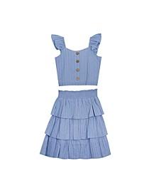 Big Girls Gauze Tiered Skirt Set