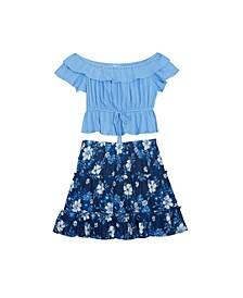 Big Girls Textured Top with Patterned Ruffle Skirt Set