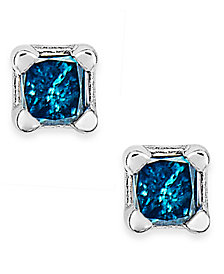10k White Gold Blue Diamond  (1/10 ct. t.w.) Stud Earrings