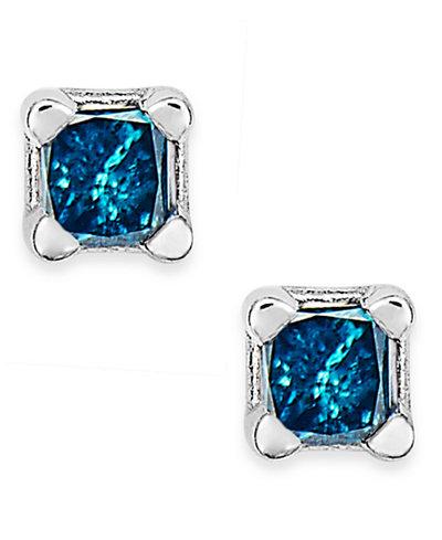 10k White Gold Blue Diamond (1/10 ct. t.w.) Stud Earrings