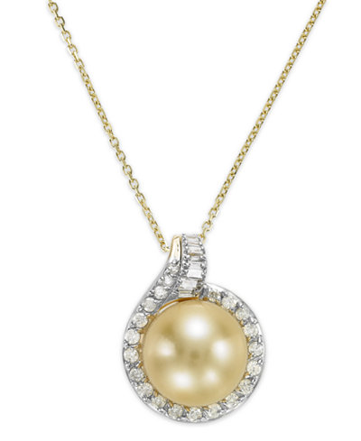 14k Gold Golden South Sea (12mm) and Diamond (1/2 ct. t.w.) Pendant Necklace