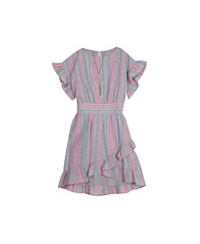 Big Girls Stripe Linen Dress with Necklace