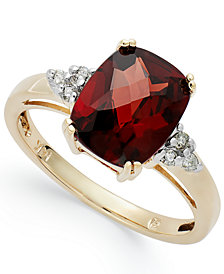 14k Gold Garnet (3-1/2 ct. t.w.) and Diamond (1/10 ct. t.w.) Ring