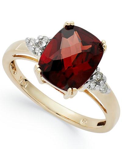 14k Gold Garnet (3-1/2 ct. t.w.) and Diamond (1/10 ct. t.w.) Ring