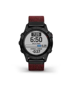 Unisex Fenix 6 Sapphire Red Nylon Strap Smart Watch 33.02mm