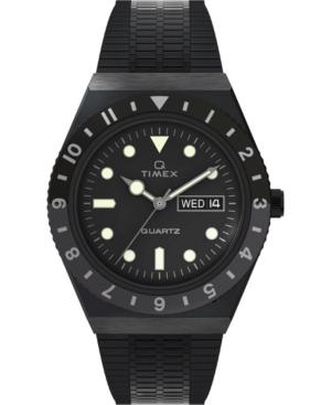 TIMEX MEN'S Q DIVER INSPIRED BLACK STAINLESS STEEL BRACELET WATCH 38MM